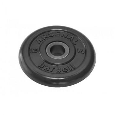 Диск обрезиненный черный Arsenal Barbell d-26 1,25 кг