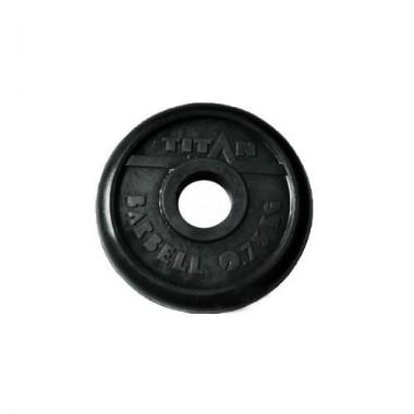 Диск обрезиненный черный Titan Barbell d-31 0,75 кг