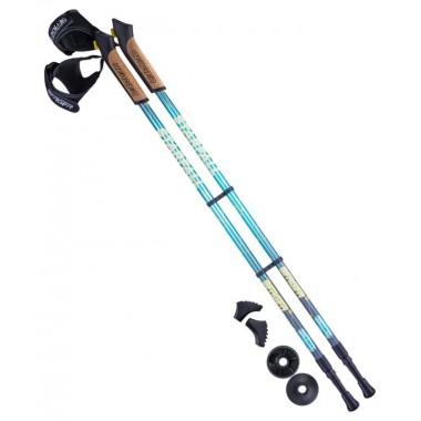Палки для скандинавской ходьбы Berger Starfall 77-135 см 2-секционные, синий/серый/жёлтый