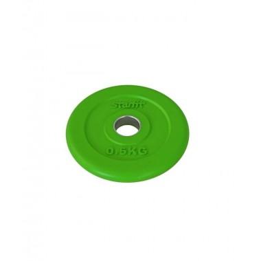Диск обрезиненный StarFit BB-201 d-26 мм зеленый, 0,5 кг