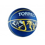 Мяч баскетбольный TORRES Jam р.7 резина, сине-желто-голубой