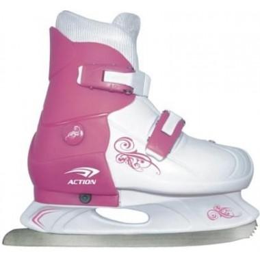 Коньки ледовые раздвижные Action (розовый/белый) PW-219-1 р.33-36