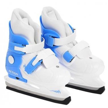 Коньки ледовые раздвижные Action (голубой/белый) PW-219-2 р.29-32