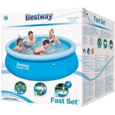 Бассейн с надувным бортом Bestway 57265 (244х66см)