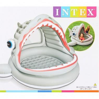 Надувной детский бассейн с навесом Intex 57120NP Roarin Shark Shade Pool 2+