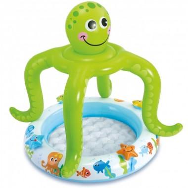 Надувной детский бассейн с надувным полом Intex 57115NP Smiling Octopus Shade Baby Pool 1+