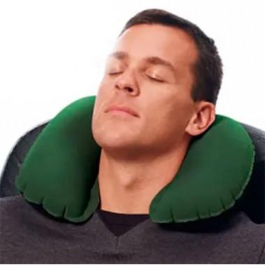 Подушка надувная для шеи флокированная Bestway 67006 (37х24х10) зеленый
