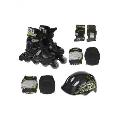 Роликовые коньки Action PW-120B + защита, шлем р.35-38