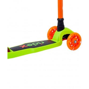 Самокат 3-колесный Ridex Chip, 120/80 мм, оранжевый/зеленый